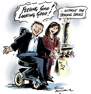Illustration of a guy in a wheelchair dressed up looking good